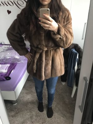 Saga Mink Pelt Coat brown-cognac-coloured