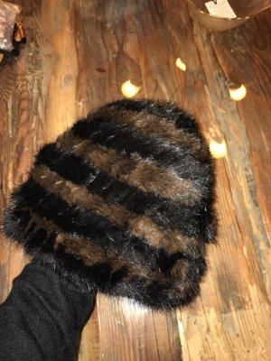 Nerzmütze Stricknerz schwarz braun neuwertig Echtnerz Mink Pelzmütze Fellmütze