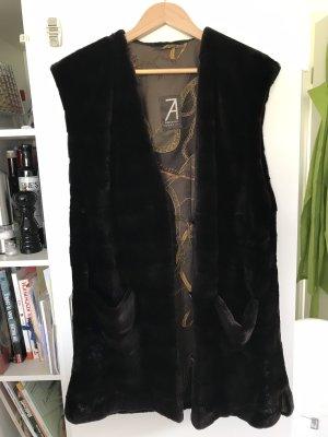 Chaleco de piel marrón-negro