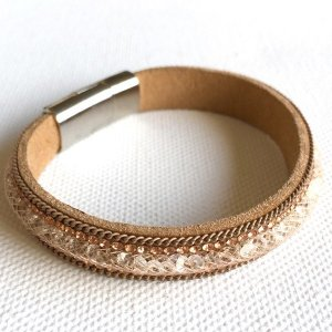 Netz-Armband - hellbraun/apricot