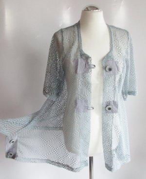 Blouse en dentelle bleu pâle-gris clair tissu mixte