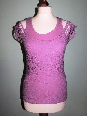 Netz-Shirt Oberteil lila flieder Gr. 34/36