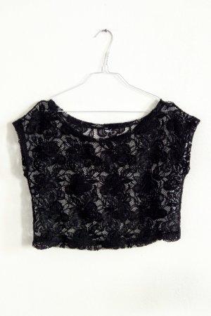 Netz T-Shirt Top Spitze Blumen schwarz S-M / 38-40