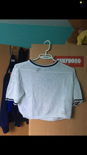 H&M Camisa de ganchillo negro-blanco