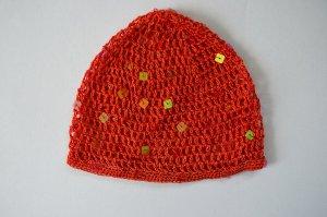 Netzmütze Haarnetz Pailletten Retro Rot