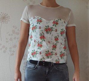 Netzshirt mit floral print