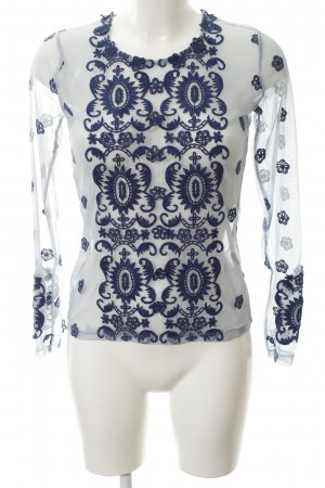Netshirt staalblauw-azuur bloemen patroon elegant
