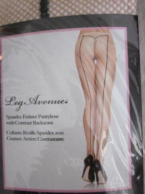 #Netzstrümpfe Nude mit Naht in schwarz Neu M/L OVP
