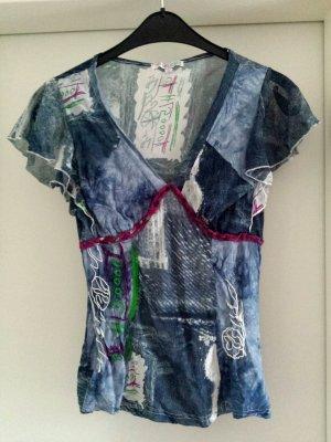Robe Hippie bleu acier-blanc tissu mixte