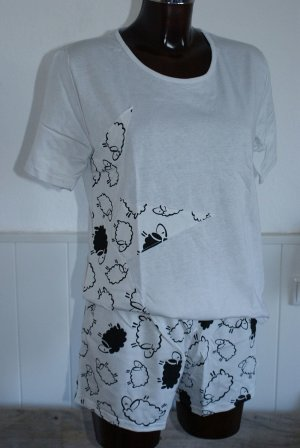 Pyjama light grey-black cotton