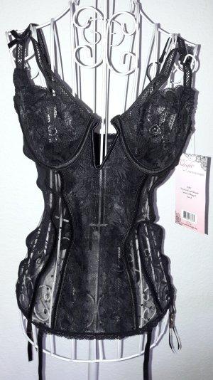 Neu ! 2tlg. Spitzen & Mesh-Bustier-Set Gr.L PinUp Burlesque