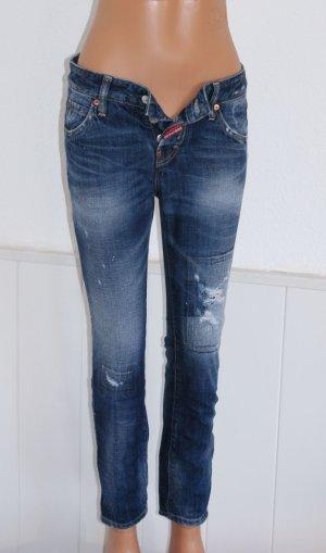 neu!! 34 IT 38 DSQUARED2 Luxus Jeans Röhre Vintage Destroyed Flicken