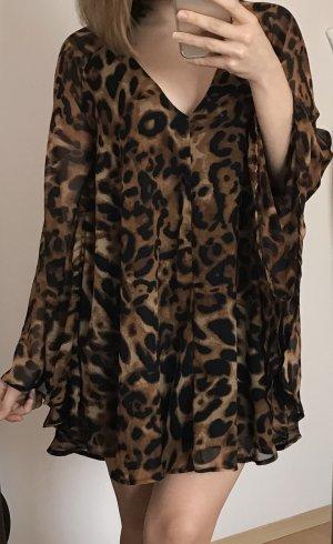 Robe chiffon noir-brun