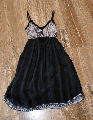 Vestido tipo overol negro Seda