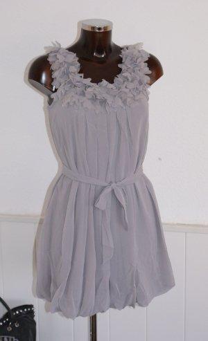 neu! 36 38 S M ● schönstes Ballonkleid Tunika Kleid ● Seide Grau