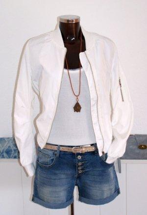 Blouson aviateur blanc polyester