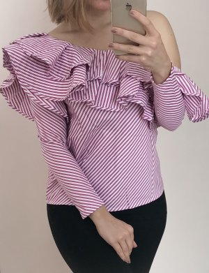 Camicetta con arricciature bianco-viola