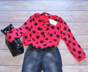 Blusa con lazo rojo-negro Viscosa