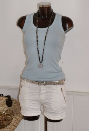 NEU 38 40 melly & co BAGGY SHORTS WEISS Bermuda Stretch Hose Ibiza Blogger Look