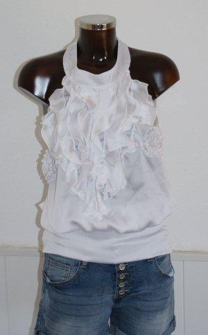 NEU 38 M ~ 101IDEES ~ schönstes Neckholder Top Bluse Volants + Blüten in Weiß