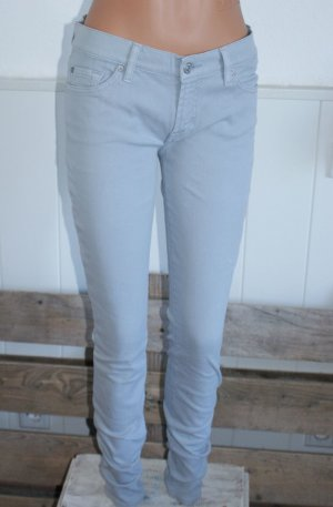 7 For All Mankind Jeans cigarette gris clair coton