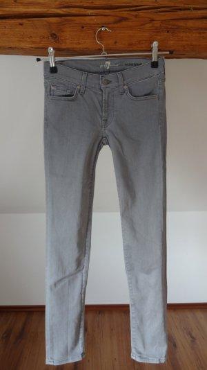 Neu 7 for all mankind Roxanne W24 grau Jeans skinny slim fit 34 36 Hose Designer
