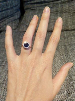Silver Zilveren ring zilver-donkerblauw