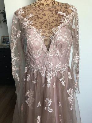 Neu A-Linie Tüll Spitze Applikation Langärmelig Kleid