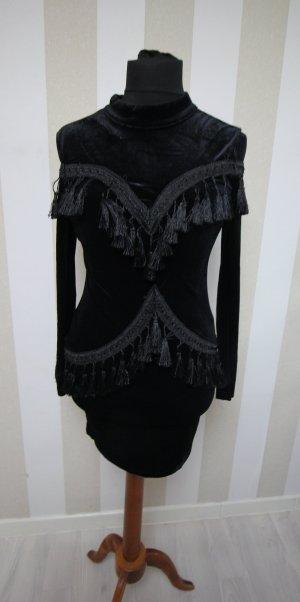 NEU Abendkleid Fransen Cocktailkleid Kleid Samt Velvet