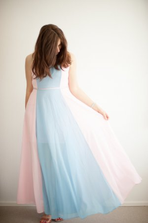 *neu* Abendkleid Maxikleid blau & rosa Chiffonkleid