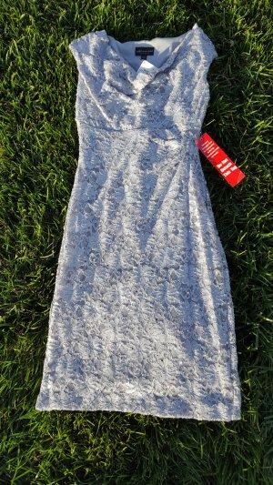 NEU!! Abendkleid mit Pailetten und Spitze in Silber, Gr.M