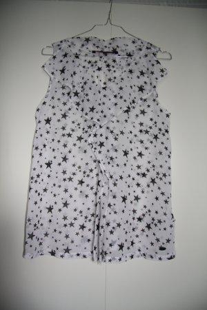 NEU Ärmellose Bluse mit Sternen weiß-schwarz Gr. S