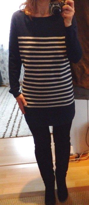 NEU American Vintage Streifen Kleid Strickkleid + Cashmere Kaschmir blau-weiß S
