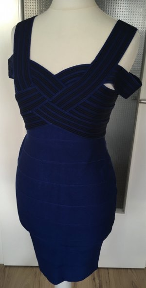 Neu Angela Cocktailkleid Abendkleid Hochzeit Kleid XS 34 Blau Schwarz Bandage