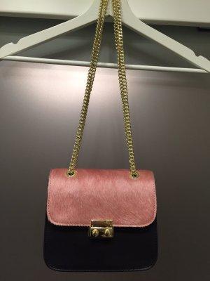 Mini sac rose fluo-noir faux cuir