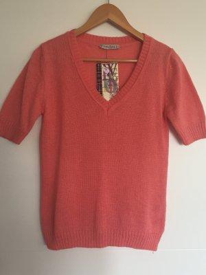 Maglione a maniche corte salmone-rosso chiaro Lana d'angora