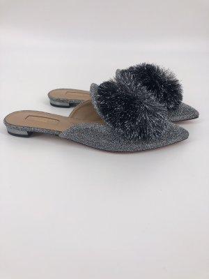 Aquazzura Mules silver-colored leather