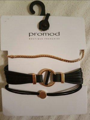 Promod Braccialetto sottile nero-oro