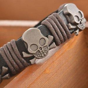 Leather Bracelet black-silver-colored imitation leather