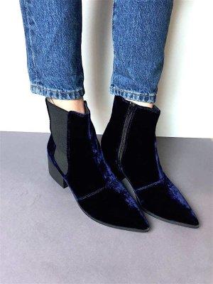 Neu! Asos Chelsea 70er Velvet Boots Blau Samt Blogger Trend Cosy Ankle Rock 'n' Roll Gr. 39