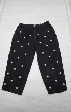 NEU Asos White Culotte Jeans Hose mit Perlen