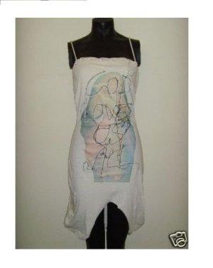NEU ausgefallenes RELIGION UK DRESS Kleid Schlitz Saum Trägerkleid Sommer Print GOD LOVE US ALL