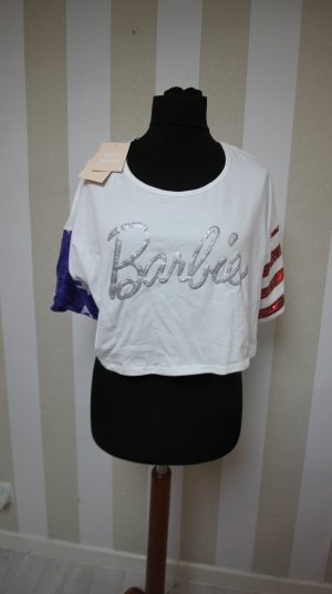 NEU BARBIE CROP TOP PAILLETTEN T-SHIRT TOP AMERICAN FLAG USA