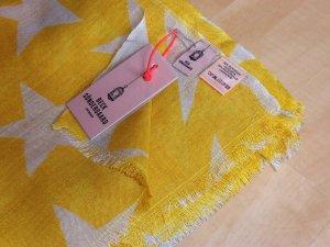 NEU BECKSÖNDERGAARD Supersize Nova Farbe Freesia Sterne Schal Tuch Wolle Seide Gelb Natur