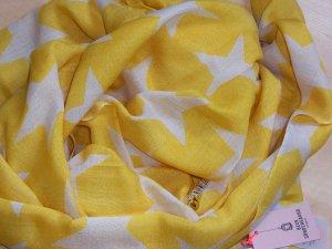 NEU BECKSÖNDERGAARD Supersize Nova Sterne Schal Tuch Wolle Seide Gelb Natur