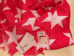 NEU BECKSÖNDERGAARD Supersize Nova Sterne Schal Tuch Wolle Seide Rouge Red Rot Natur XXL