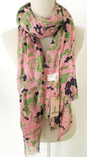 * NEU * Becksöndergaard Tuch Schal rosa grün schwarz Blumen floral Baumwolle