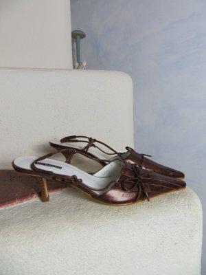 NEU! Belmondo bronze braune Leder Slingback Pumps Gr. 37 Echtleder zierliche Riemchenpumps