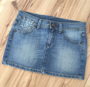 NEU Benetton Low Waist Denim Minirock Jeans Rock IT38 XS 32 34 Festival Biker Sommerrock