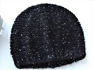 NEU Benetton Mütze Pailetten schwarz Baskenmütze